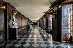 Chequered Corridor (James Waghorn) Tags: sigma1020f456 shadows summer palace topazclarity reflections statue hamptoncourt d7100 historic nikon england chequered pattern corridor
