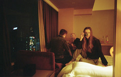 hotel rooms, china (Desika Devic) Tags: china hotel neon night self portrait girl red orange kodak film 35mm analogue expired travel portraits city shenzhen