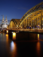 Cologne by night (GillWilson) Tags: germany rhine colognecathedral hohenzollernbridge