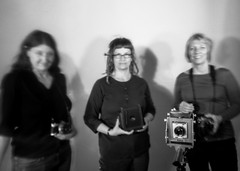 women and their cameras (pinhole) (CraftyMoni) Tags: longexposure blackandwhite pinhole p