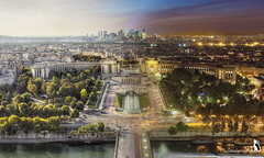 Day Turns to Night in This View of Paris (thehappymango) Tags: from above city trip travel panorama paris france west tower seine night europe european day cityscape view capital eiffel visit vista blend