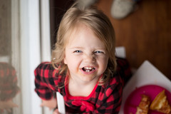 """Amelia's Current """"Smile"""" (donnierayjones) Tags: morning red baby black silly girl smile table happy kid toddler child pizza pjs jammies pajamas mornin"""