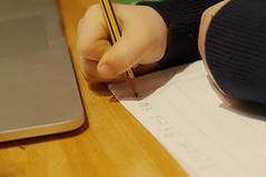 Devoirs {026:365} (Conanetta) Tags: pencil writing paper child laptop pirates january pad crayon homework 2015 devoirs mediumquality