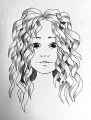 Ribbon Hair (Earl Grey Sin) Tags: face pen hair ribbons doodle curly zentangle