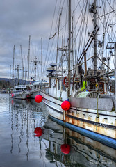 Fishboats (Paul Rioux) Tags: morning canada clouds boat fishing dock marine bc britishcolumbia vessel vancouverisland commercial wharf fishermanswharf trawler sooke moored prio fishboat commercialfishing sookeharbour governmentwharf