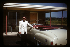ms 1943-54 AB-139 (ndpa / s. lundeen, archivist) Tags: wedding people man color film car 35mm hotel automobile nick bowtie motel convertible 1954 slide tuxedo 1950s kodachrome ellison tux 1953 dewolf whitetuxedo nickdewolf photographbynickdewolf ellisonwedding hankellison locationunidentified hankellisonwedding