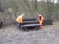 Brian and Phil load level crossing panels onto platform trolley 7Mar15