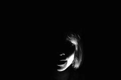 Night face (Jochem.Herremans) Tags: light portrait girl smile face dark blackwhite young beam blond lowkey