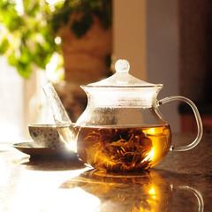 flowering tea (anniedaisybaby) Tags: reflection lemon tea pineapple teavana numi teaflower floweringtea organictea blossomtea goldenjasmine thankyoulisam