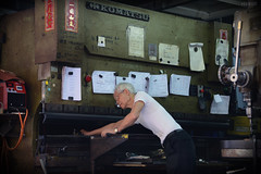 """Printing Press"" in Wanchai, Hong Kong (Ben Molloy Photography) Tags: china old people vintage person nikon ben machine hong kong human printing press molloy komatsu sar 852 benmolloy benmolloyphotography benmolloyhongkong"