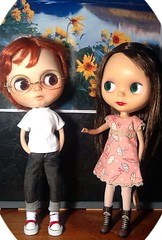 Blythe-a-Day March#20: Spring or Fall; #23: Umbrella: Peanut & Rosalind