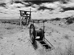 fool's gold... (BillsExplorations) Tags: old blackandwhite abandoned monochrome gold ruins decay nevada mining forgotten searchlight mainframe foolsgold goldmine