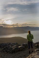 Asne mot Nakken (Vebjrn Ribe) Tags: girl mountain sun midnightsun summer troms norway northernnorway green fjord peak sky review