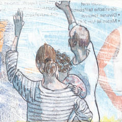 # 223 (10-08-2016) (h e r m a n) Tags: herman illustratie tekening bock oosterhout zwembad 10x10cm 3651tekenevent tegeltje drawing illustration karton carton cardboard afscheid goodbye farewell wave zwaaien manenvrouw manandwoman gezin familie family moederenkind motherandchild