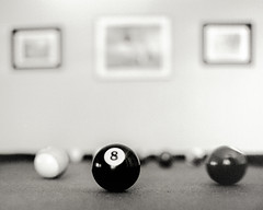 8 Ball (magnetic_red) Tags: blackandwhite stilllife game pool contrast table trix grain balls depthoffield bronica grainy rodinal billiard 8ball wastingtime s2a shootingwithoutameter