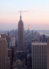 Top of the Rock Dusk (2013) (.annajane) Tags: nyc newyorkcity pink sunset sky usa newyork skyline cityscape dusk worldtradecenter rockefellercenter esb empirestatebuilding topoftherock freedomtower