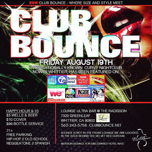 **Club Bounce Event THIS Fri Aug 19th** The sexiest curvy ladies and friendliest gents in all of SoCal party at BOUNCE! Celebs too!! Join the email list asap at www.clubbounce.net  #clubbounce #lisamariegarbo #bbw #bigbooty #bigboobs #sexybbw #bbwpics #cu
