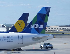 JetBlue Vets In Blue and Prism (featfannyc) Tags: jetblue jfkairport nyc newyorkcity august2015 vetsinblue cubism tailfin queensny airplane airbusa321