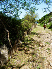 In life it's not where you go but who you travel with (angeloska) Tags: ikaria hikingtrails opsikarias aegean greece signage    girl stonewall goatland atheras arethousa ridge  april