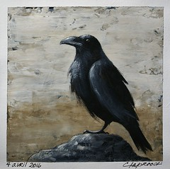 4 avril 2016 - April 4 , 2016 (marieclaprood) Tags: bird black art original painting acrylic claprood canvas crow raven april blackbird marieclaprood birdpainting birdart originalart finearts dailypainting nature illustration wildlife acrylicpainting neutraltones