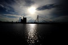 The Vanu Bridge (Latvian: Vanu tilts) ......crosses the river Daugava (dl1ydn) Tags: bridge water reflexion wolkig cloudy schatten spiegelungen wellen