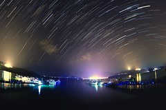Star trails at Sun Moon Lake  (Vincent_Ting) Tags:        sunset clouds  sky taiwan water lake sunmoonlake sunrise    pier   morning dawn  galaxy        crepuscularrays vincentting  milkyway