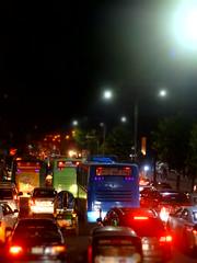 DSC05392 (Akidul Saikat) Tags: dhaka night red light car show flower jam traffic hard mood wait buss different bangladesh road beautiful private cityscape city life sony dsc hx10v high iso blur