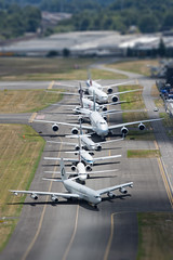 TINY HUGE (Kaiserjp) Tags: 100yearsstrong 707 717 727 737 747 757 767 777 787 7879 a6epo ana alaska bljn cathaypacific cathaypacificcargo delta emirates fedex kc707 mof museumofflight n1015b n137fe n1794b n248ak n5022e n548ua n624rh n7001u n922at omega omegatanker united boeing centennial 100years 7series lineup celebration boeingfield bfi kbfi airplane airliner jet travel airport