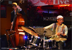 Winard Harper Quintet and Guest, Candlelight Lounge (jackman on jazz) Tags: alanjackman jackmanonjazz nikon nikkor d7000 100mm low light available manual focus candlelight lounge trenton newjersey drums drum percussion hat cymbals bass basso double contra vincedupont winardharper