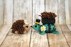 Bride & Groom Wedding Cake Toppers Hedgehog and Turtle (Everett Edibles) Tags: weddingcake caketopper fondant fondantcaketopper fondanttopper weddingcaketopper brideandgroomtopper hedgehog turtle woodlandanimals fondantfigures cake cakedecoration