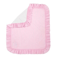 Seersucker Pink Blanket with Ruffle Edge (initial_impressions) Tags: embroidered personalized seersuckerpinkblanketwithruffleedge
