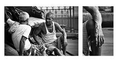The Rickshawpullers (arkamitralahiri) Tags: india kolkata calcutta travel traffic transport people streetphotography streetscene diptych blackandwhite monochrome monotone nikon d3100 70300 urban city citylife rickshaw river rickshawpuller portrait
