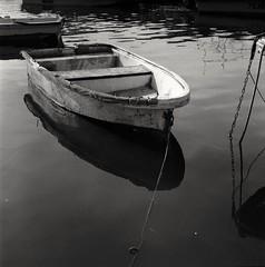 (David Davidoff) Tags: fishingboat rolleiflexsl66 6x6squareformat 120film fomapanprofilineaction400 sceneryseascape medium sea seascape reflections