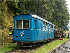 """Trip Working"" (Kingmoor Klickr) Tags: cff viseudesus botizu railcar romania vaser valley transylvania industrial narrowgauge railway"