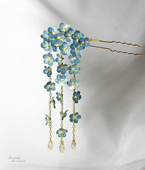 Resin Kanzashi (BestPeople.Ca) Tags: hair pin resin kanzashi cherry blossom handmade transparent forgetmenot