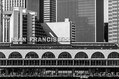 Welcome to San Francisco (Thomas Hawk) Tags: california ferrybuilding sanfrancisco usa unitedstates unitedstatesofamerica architecture bw neon fav10 fav25 fav50