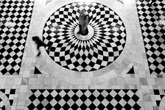 Bullseye (PM Kelly) Tags: london floor pattern abstract street indoors interior tiles black white blackandwhite bw bnw centre center target middle walk queens house greenwich x70
