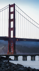 monument in the mist (pbo31) Tags: california nikon d810 october 2016 fall boury pbo31 bayarea sanfrancisco color panoramic large stitched panorama goldengatebridge 101 bridge orange fortpoint bay presidio goldengatenationalrecreationarea mist fog vertical tide shore pier fishing