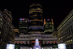 Cabot Square, Canary Wharf, London, United Kingdom (topwh) Tags: cabot square canary wharf canarywharf cabotsquare london ldn night midnight hsbc citi one canada onecanadasquare united kingdom unitedkingdom uk greatbritain great britain gb londonatnight water fountain waterfountain