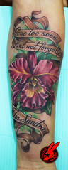 Flower Memorial Tattoo by Jackie Rabbit (Jackie rabbit Tattoos) Tags: california ca dog flower color tree sexy bird beautiful northerncalifornia tattoo vintage nude skull star 3d colorful artist heart good infinity feather best tattoos sunflower anchor norcal chico piece tat sleeve compass compassrose realistic locket memorialtattoo ribtattoo lillytattoo forearmtattoo ladytattoo girlytattoo letteringtattoo femininetattoo pinkflowertattoo fonttattoo orchidflowertattoo inkmaster pintrest jackierabbit bestink eyeofjade
