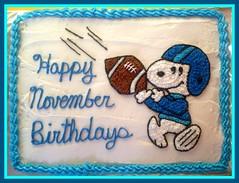 Snoopy football cake by Kristine, Linn County, IA, www.birthdaycakes4free.com