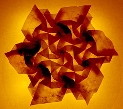 Fujimoto Tesselation Ajiro front - transparency (Pliages et vagabondages) Tags: origami tessellation décoration fujimoto