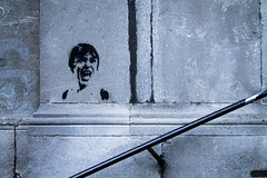 The Screaming Child Is Back .. (louisverplancken) Tags: street city urban art texture monochrome stone wall canon children eos grey graffiti paint child belgium belgique artistic head painted tag scream screaming simple namur pochoir simplicty 1100d eos1100d