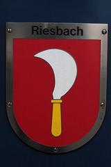 Gemeindewappen - Wappen der Gemeinde Riesbach im Kanton Zrich der Schweiz an der SBB Lokomotive Re 450 008 - 8 mit Taufname Riesbach mit ZVV - Zrcher S-Bahn Doppelstockzug  bei Zrich im Kanton Zrich der Schweiz (chrchr_75) Tags: chriguhurnibluemailch christoph hurni schweiz suisse switzerland svizzera suissa swiss chrchr chrchr75 chrigu chriguhurni februar 2015 albumbahnenderschweiz albumbahnenderschweiz201516 schweizer bahnen eisenbahn bahn train treno zug albumsbblokomotivere450 re450 zvv dosto doppelstcker schweizerische bundesbahn bundesbahnen sbb cff ffs juna zoug trainen tog tren  lokomotive  locomotora lok lokomotiv locomotief locomotiva locomotive railway rautatie chemin de fer ferrovia  spoorweg  centralstation ferroviaria