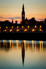 Firenze reflection (NImai Van den Bos) Tags: travel sunset italy reflection building water beautiful silhouette night river florence amazing scenery europe sundown dusk fiume great tourist adventure explore firenze arno palazzo sights vecchio eveing