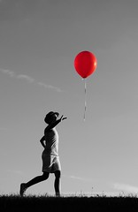 The Red Balloon (disgruntledbaker1) Tags: red bw backlight balloons blackwhite balloon 1855mm umbrellas f8 selectivecolor sidelight nikond90 disgruntledbaker1