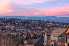 Tickled Pink in Happy Valley (David Gn Photography) Tags: city travel pink trees houses homes roof sunset sky usa mountain snow colors clouds oregon landscape evening washington realestate view unitedstates dusk scenic property pacificnorthwest northamerica suburbs residential mtrainier happyvalley mtsthelens alpenglow subdivision