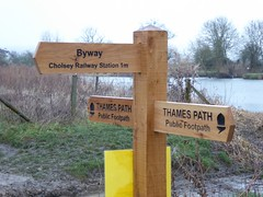 Nice shiny new sign at Cholsey (Bods) Tags: walk signpost riverthames oxfordshire thamespath cholsey thamespathstage14 tilehursttocholseywalk