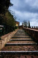 Stairs (gabrielecastaldi) Tags: street city cloud color colors clouds stairs canon climb stair strada cloudy centre centro atmosphere cc cielo siena colori citt storico centrostorico caldi canon60d