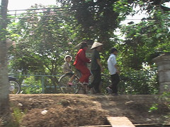 Family Bicyclists Along Mekong Canals